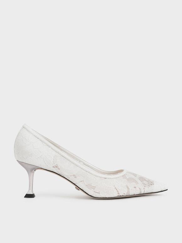 Wedding Collection: Lace Sculptural Heel Pumps, White, hi-res