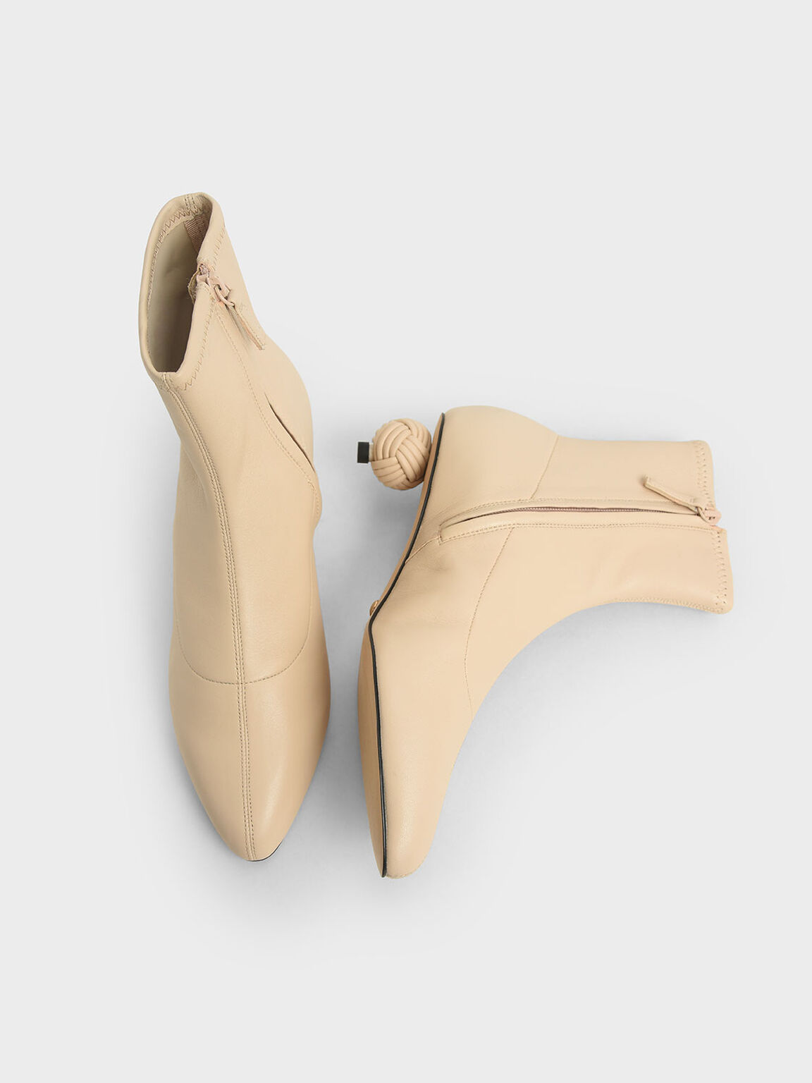 Leather Sculptural Heel Ankle Boots, Chalk, hi-res