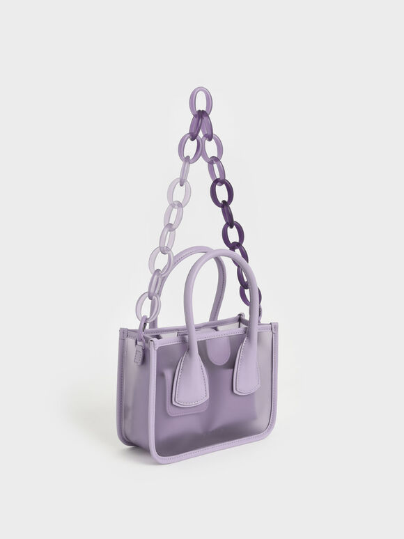 Chain Link Double Handle Bag, Lilac, hi-res