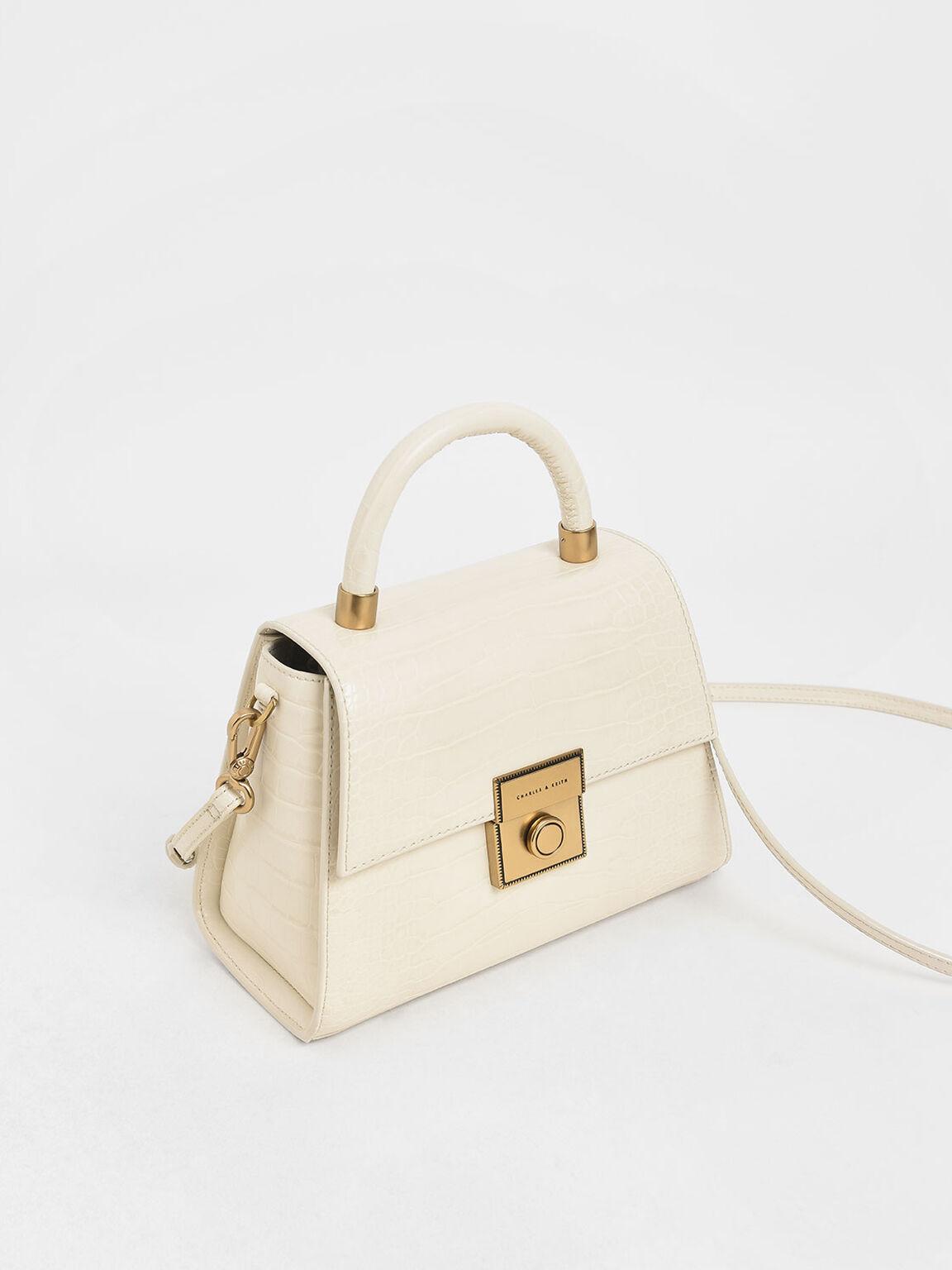 Croc-Effect Structured Bag, Cream, hi-res