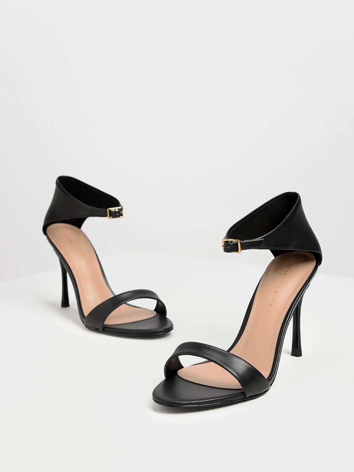Front Buckle Heels, Black, hi-res