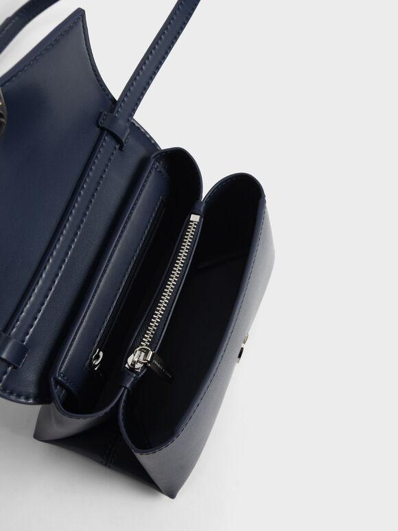 Chain Strap Envelope Crossbody Bag, Navy, hi-res