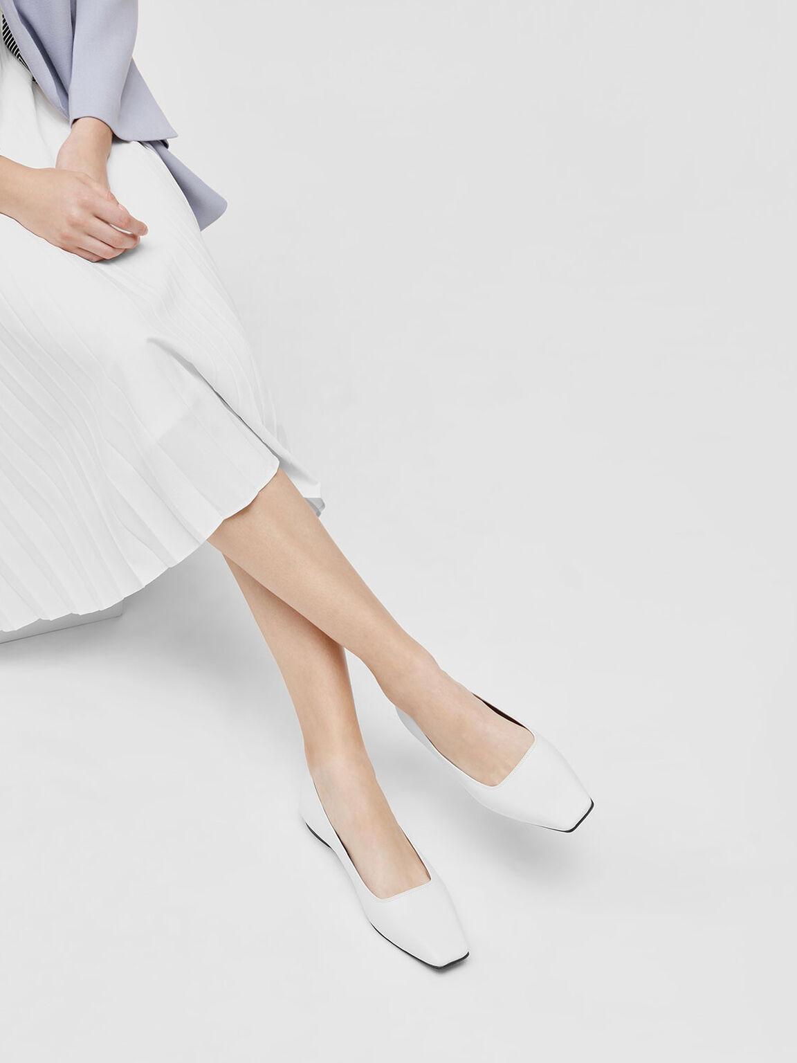 Square Toe Ballerinas, White, hi-res