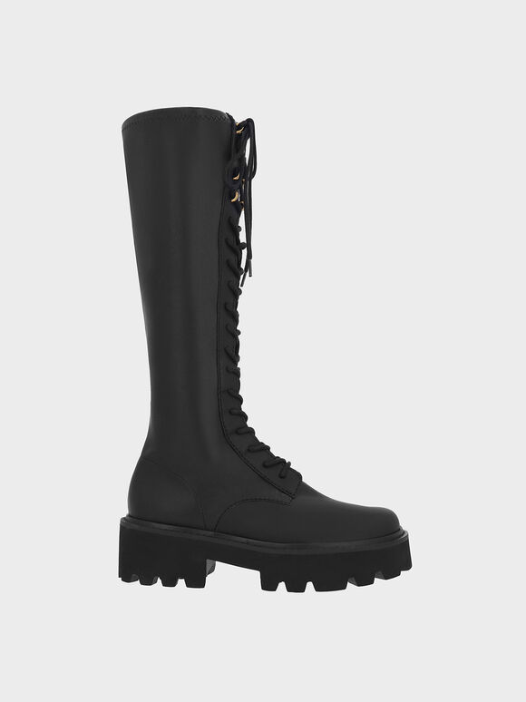 Commute Knee-High Boots, Black, hi-res