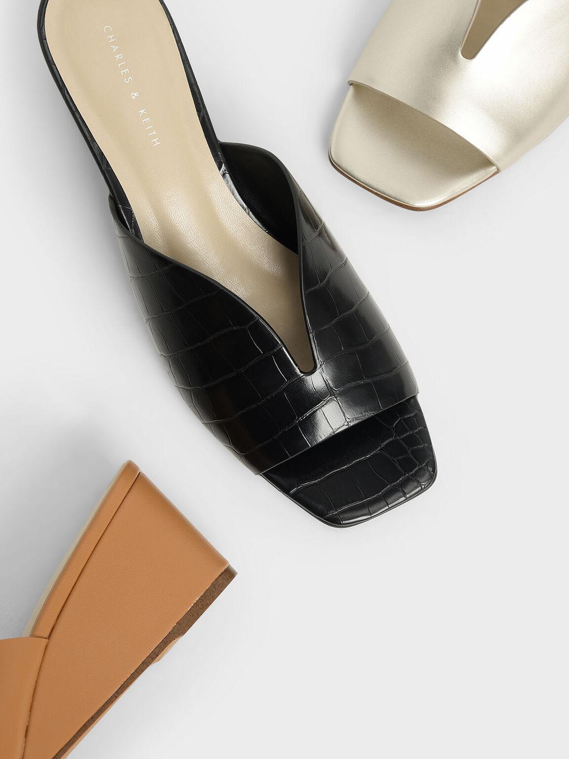 Croc-Effect V-Cut Wedges, Black Textured, hi-res