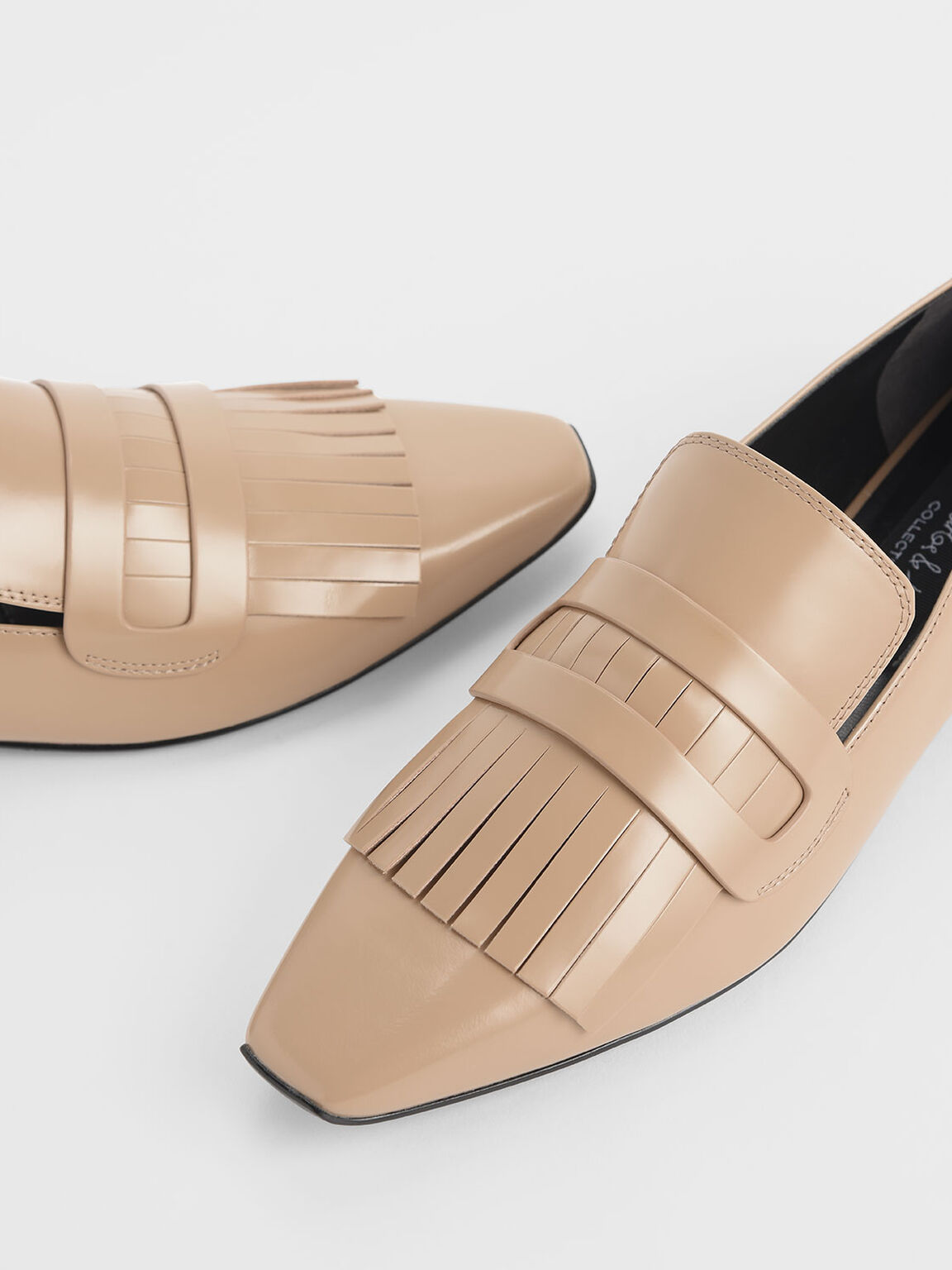 Fringed Leather Loafers, Beige, hi-res