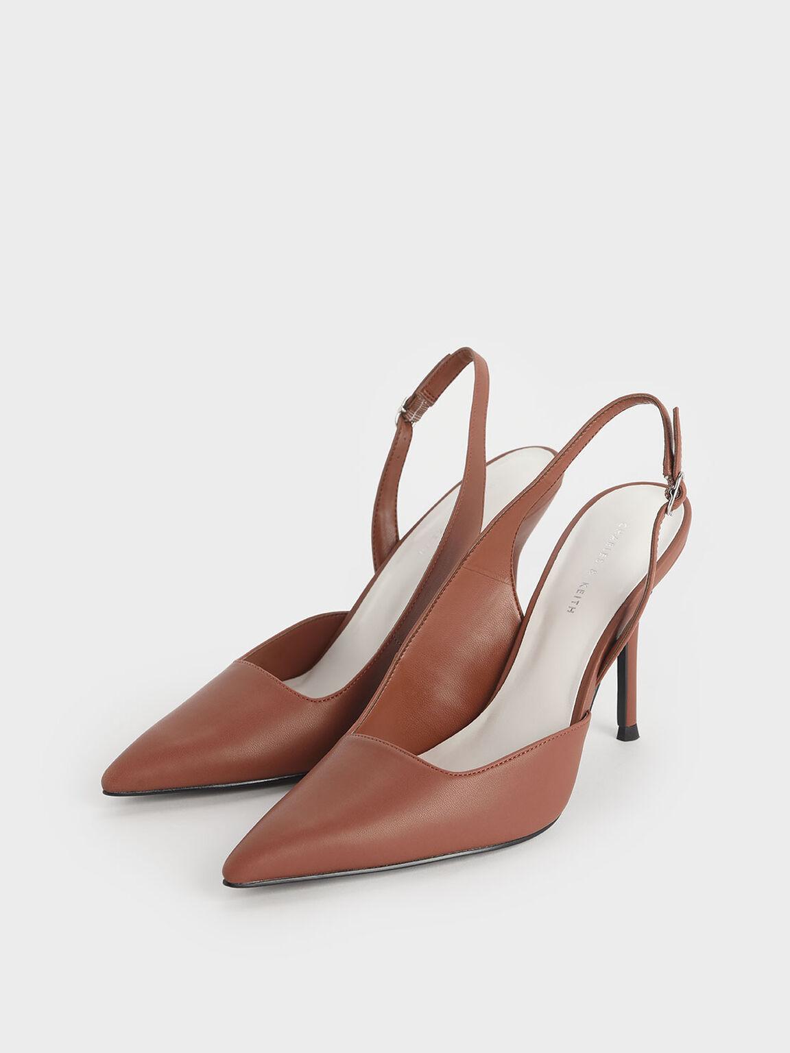 D'Orsay Slingback Heels, Brick, hi-res