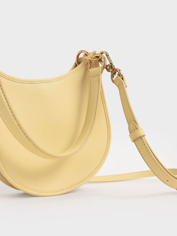 Ring Detail Hobo Bag, Yellow, hi-res