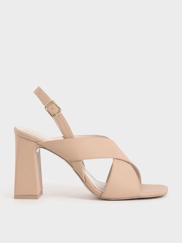 Criss-Cross Slingback Heeled Sandals, Nude, hi-res