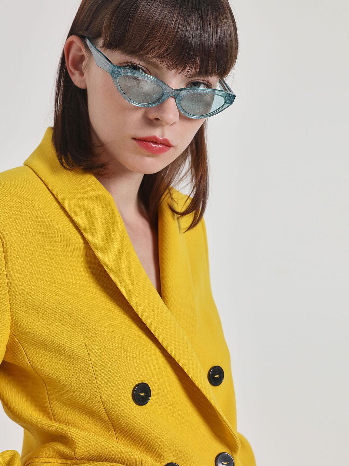 Acetate Oval Frame Sunglasses, Teal, hi-res