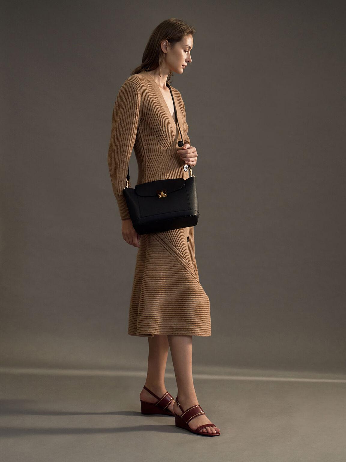 Embellished Push-Lock Shoulder Bag, Black, hi-res