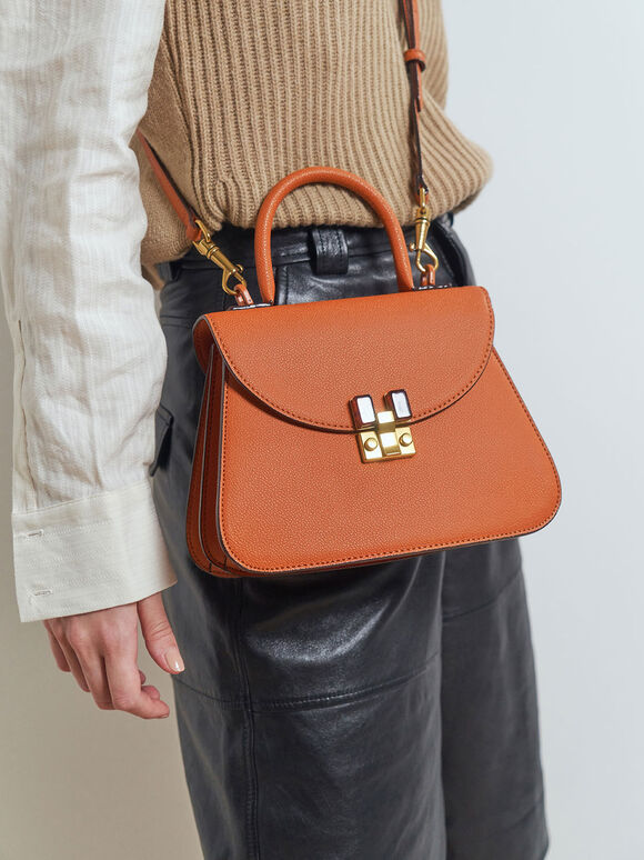 Stone-Embellished Sculptural Bag, Orange, hi-res