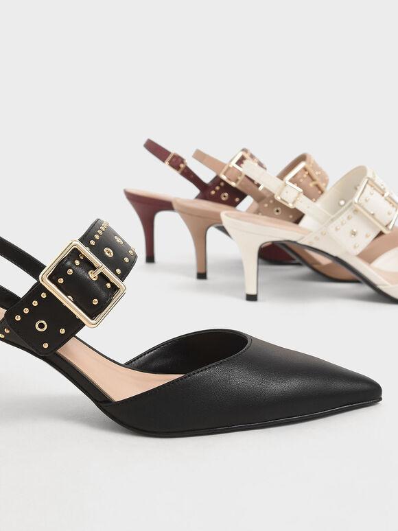 Studded Slingback Heels, Black, hi-res