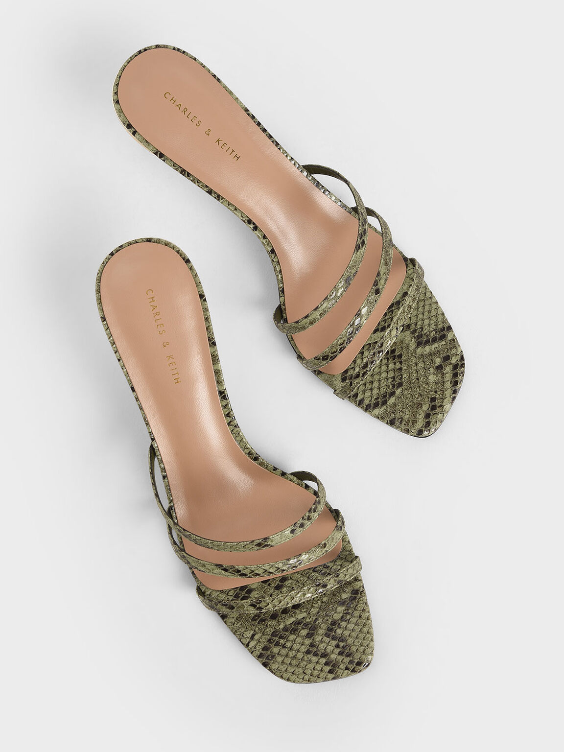 Snake Print Strappy Mules, Animal Print Green, hi-res