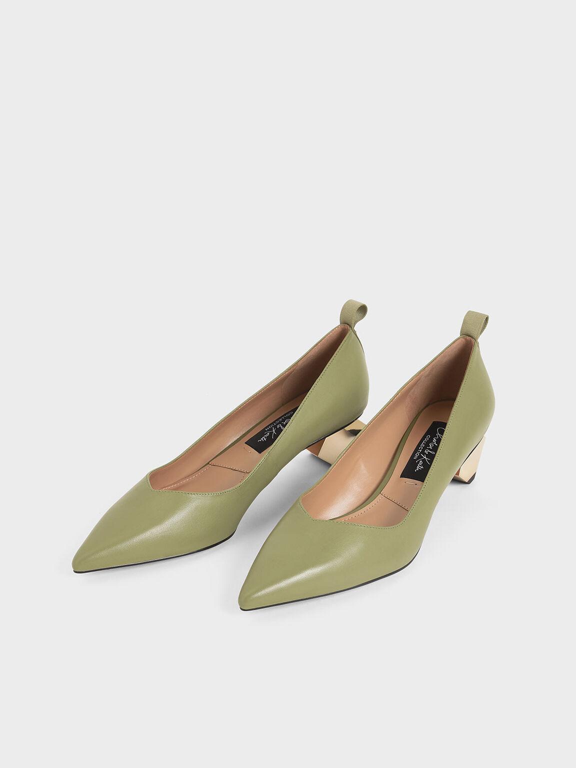 Leather Sculptural Heel Pumps, Sage Green, hi-res