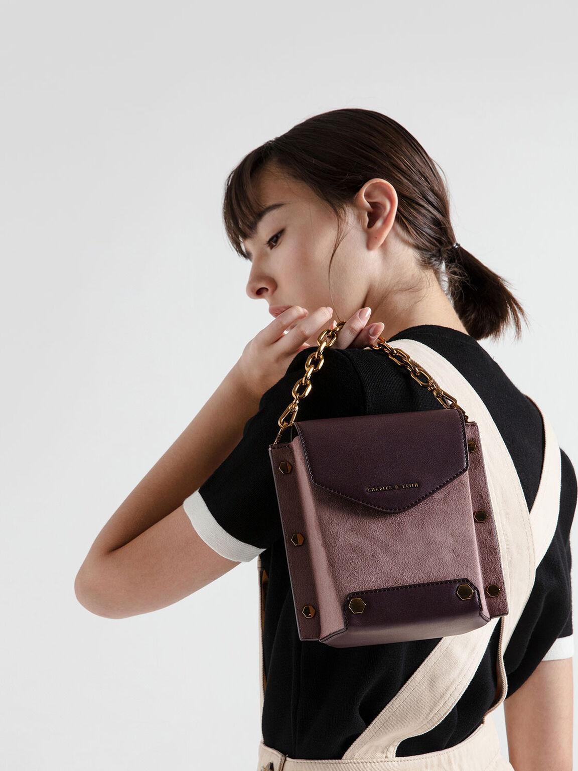 Stud Detail Textured Bag, Mauve, hi-res