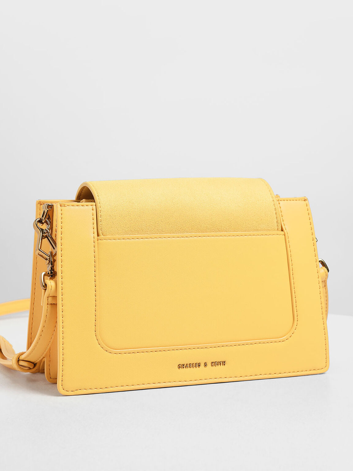 Bamboo-Effect Flip Lock Crossbody Bag, Yellow, hi-res