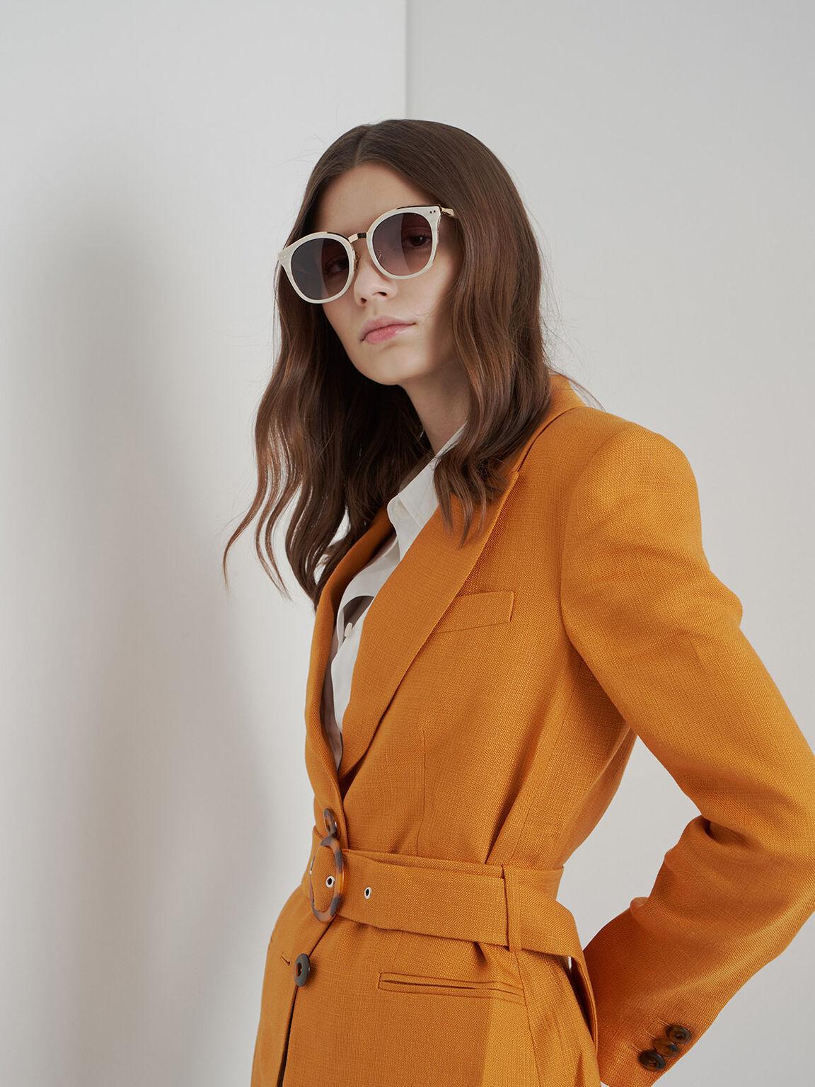 Acetate Frame Wayfarer Sunglasses, Cream, hi-res
