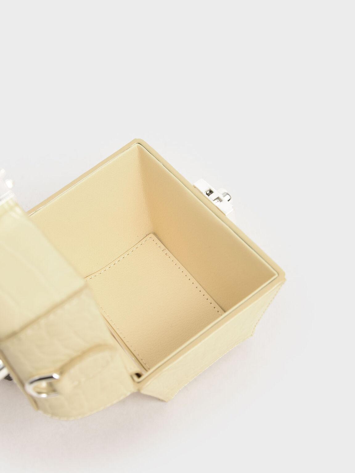 Croc-Effect Mini Sculptural Bag, Yellow, hi-res