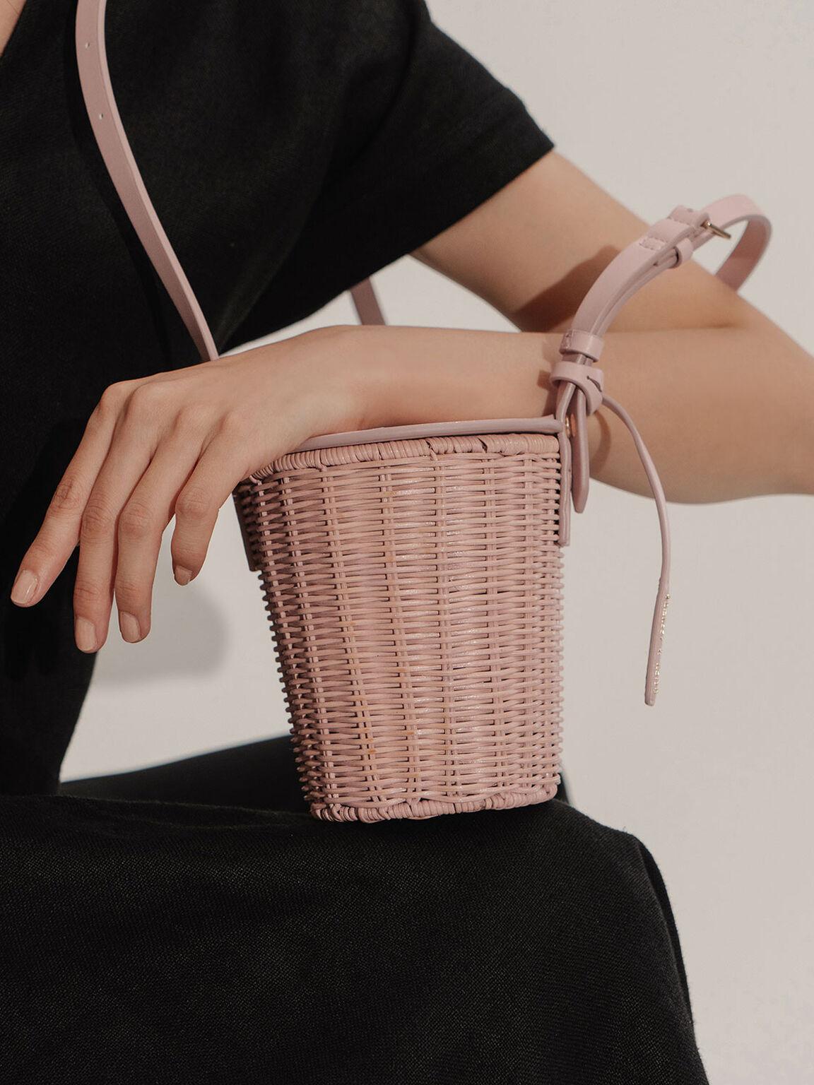 Rattan Cylindrical Crossbody Bag, Pink, hi-res