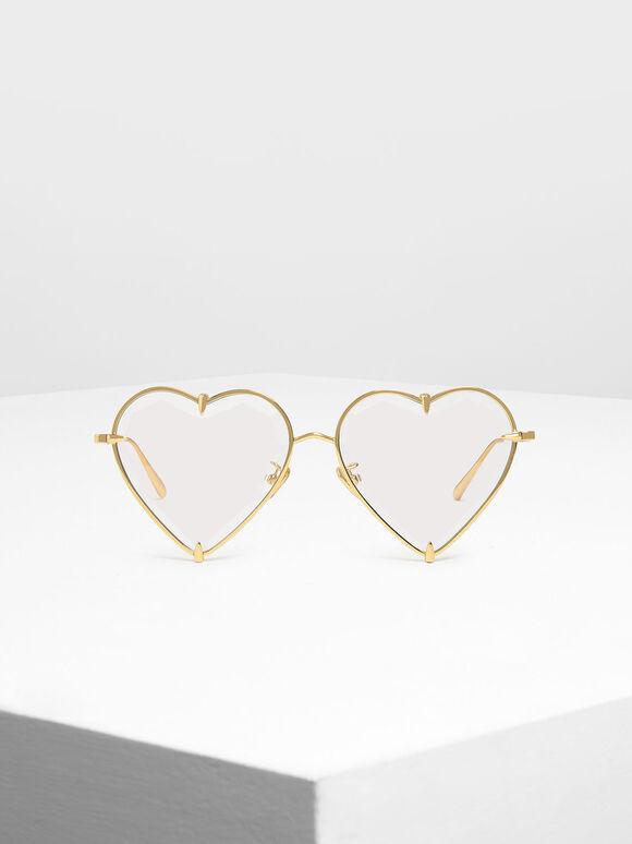 Thin Metal Frame Heart-Shaped Sunglasses, White, hi-res