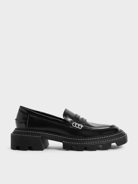 Perline Chunky Penny Loafers, Black, hi-res