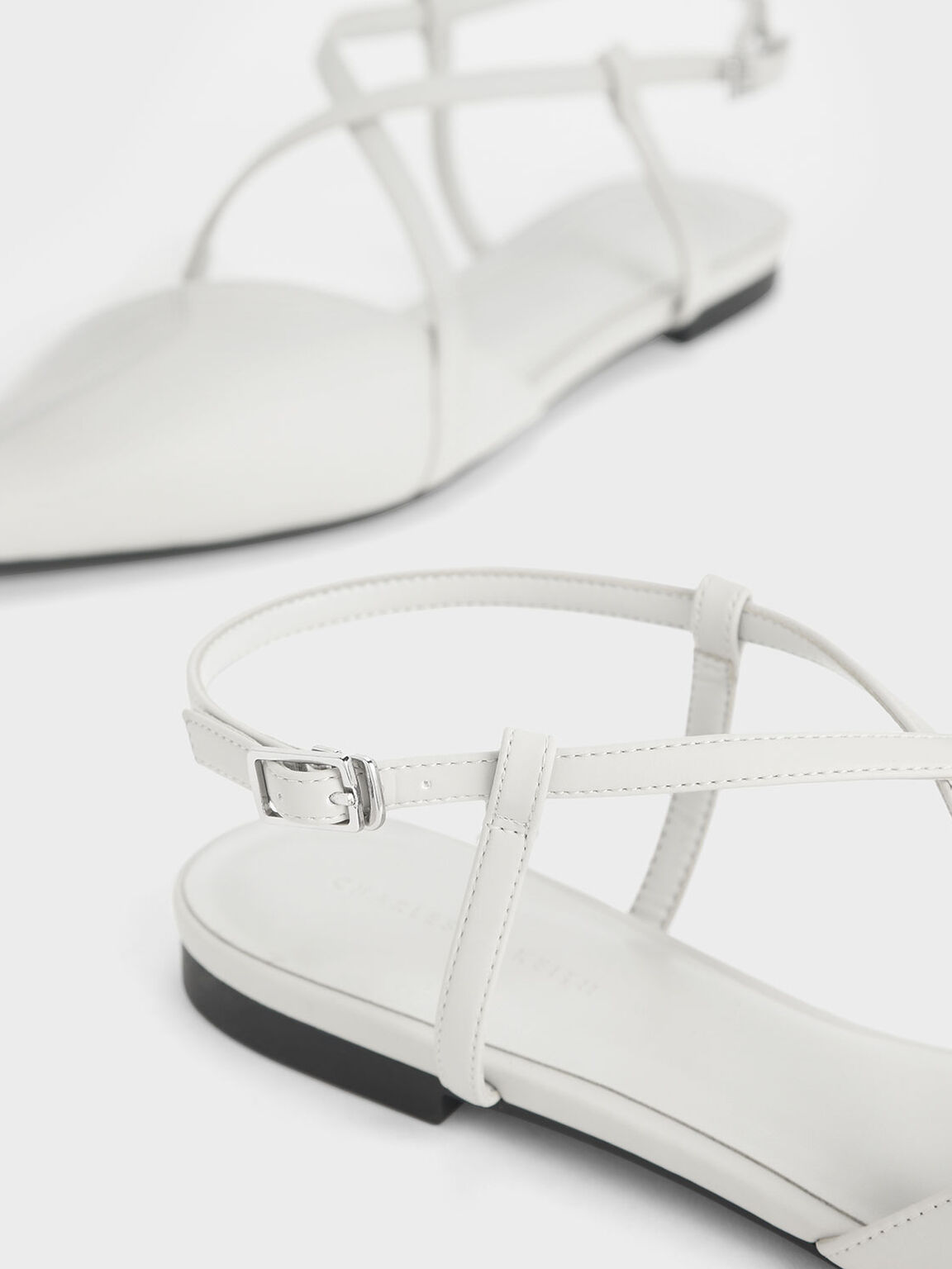 See-Through Effect Criss Cross Sandals, Grey, hi-res