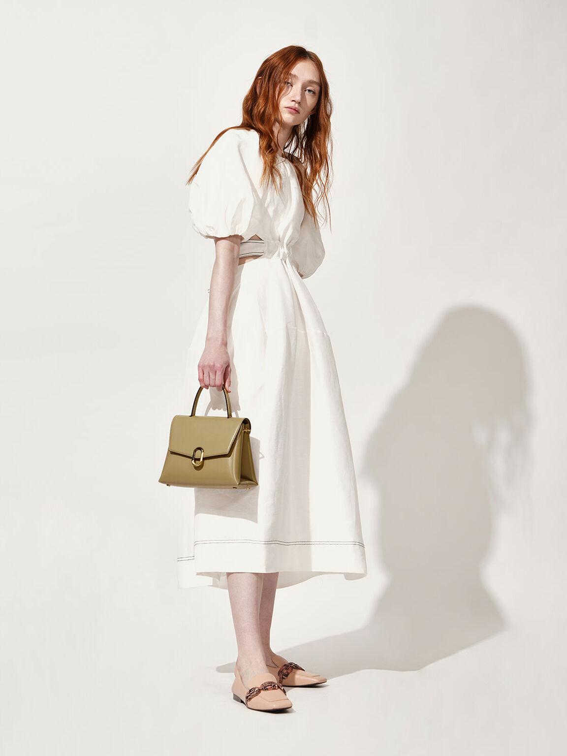 Stone-Embellished Handbag, Khaki, hi-res