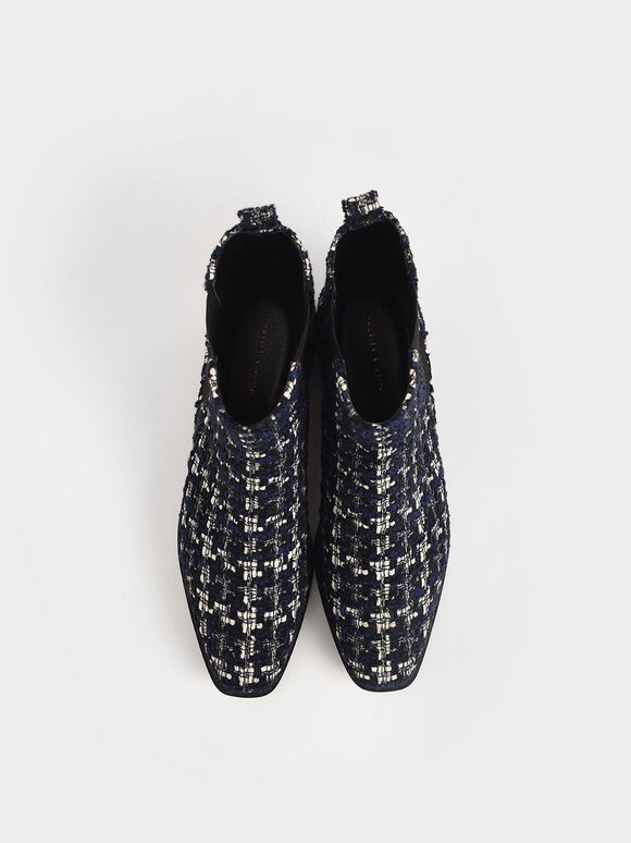 Tweed Chelsea Boots, Dark Blue, hi-res