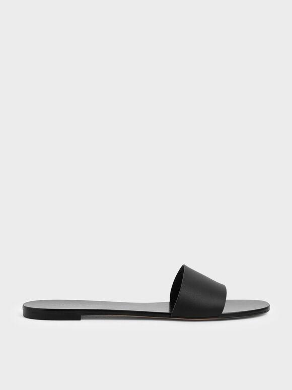 Dot Motif Slide Sandals, Black, hi-res