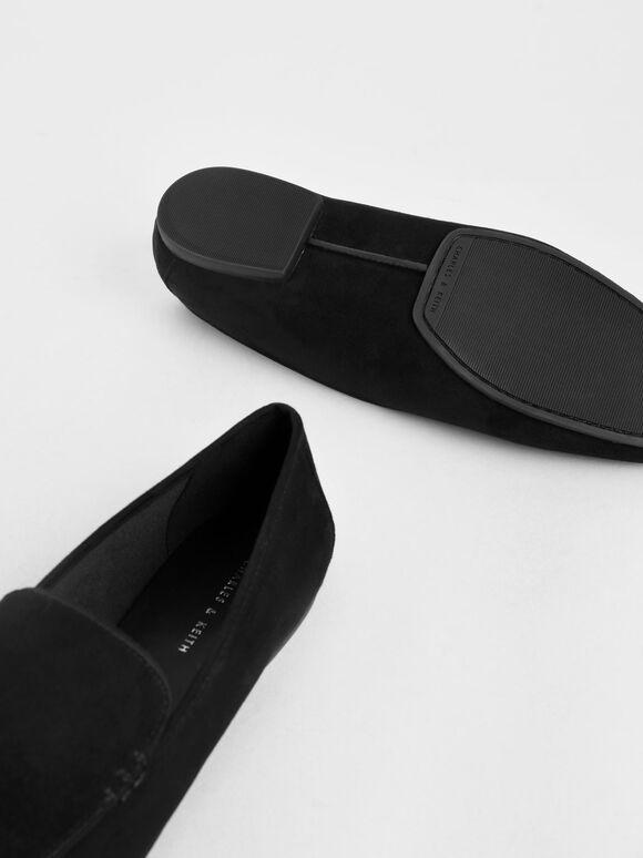 Textured Loafer Flats, Black, hi-res