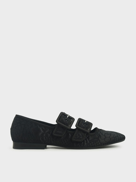 Cecilie Bahnsen X CHARLES & KEITH: Quilted Recycled Satin Dhalia Mary Janes, Black, hi-res