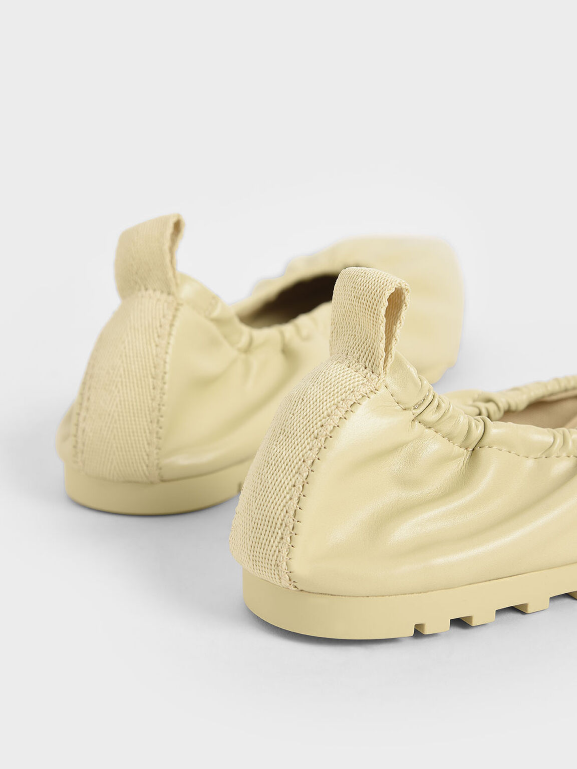 Ruched Ballerina Flats, Yellow, hi-res