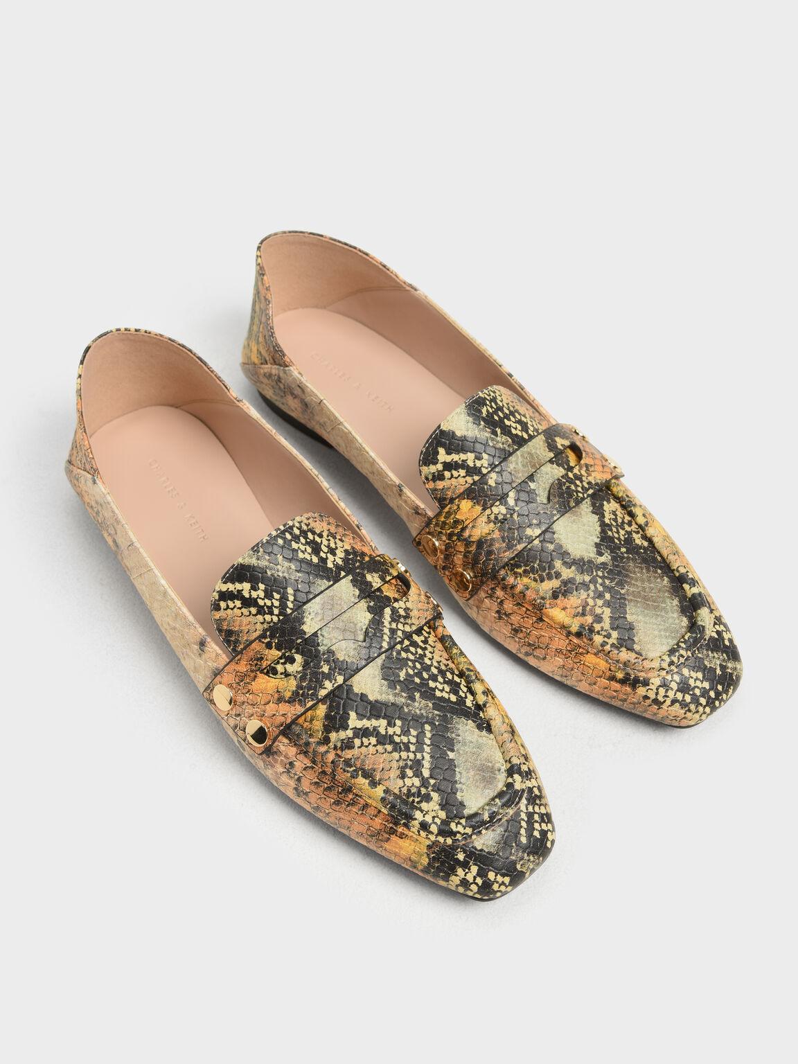 Stud Detail Step Back Penny Loafers, Multi, hi-res