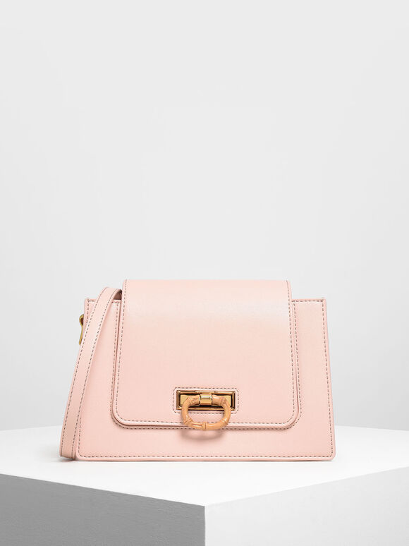 Bamboo-Effect Flip Lock Crossbody Bag, Pink, hi-res