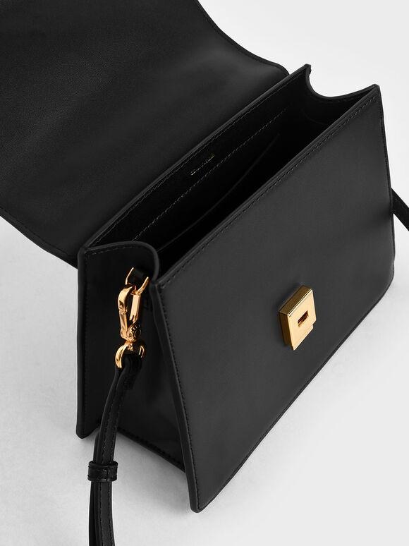 Leather Metallic Accent Handbag, Black, hi-res
