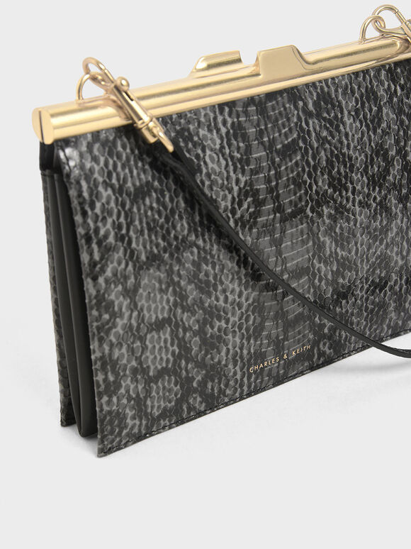 Snake Print Square Clutch, Black, hi-res