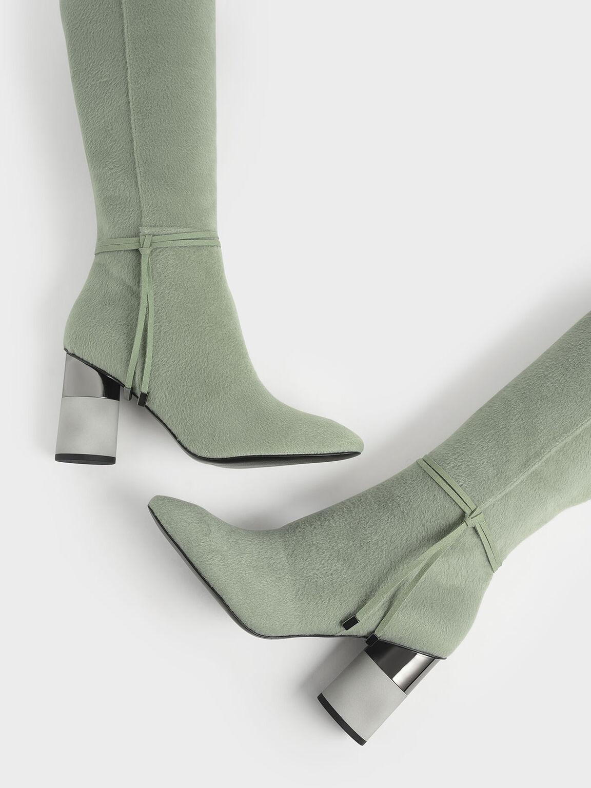 Concrete Heel Knee-High Boots, Sage Green, hi-res