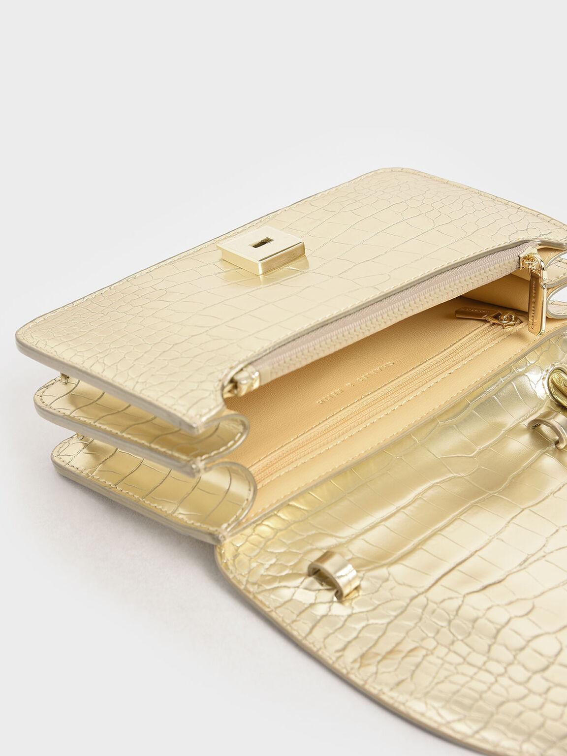 Croc-Effect Acrylic Handle Wristlet Clutch, Gold, hi-res