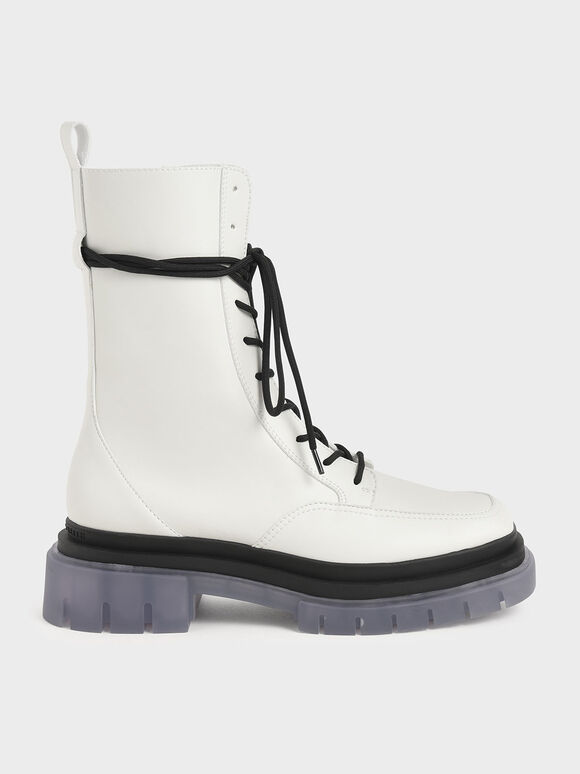 Lace-Up Ankle Boots, White, hi-res