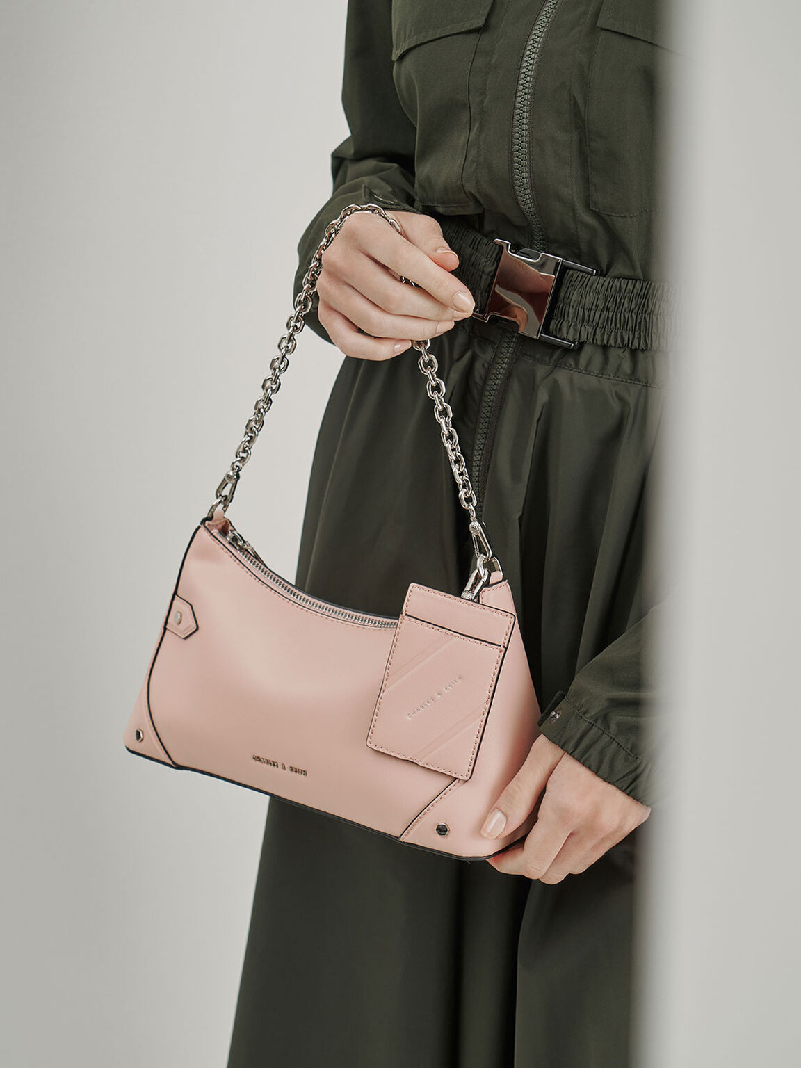 Chain Handle Bag, Pink, hi-res