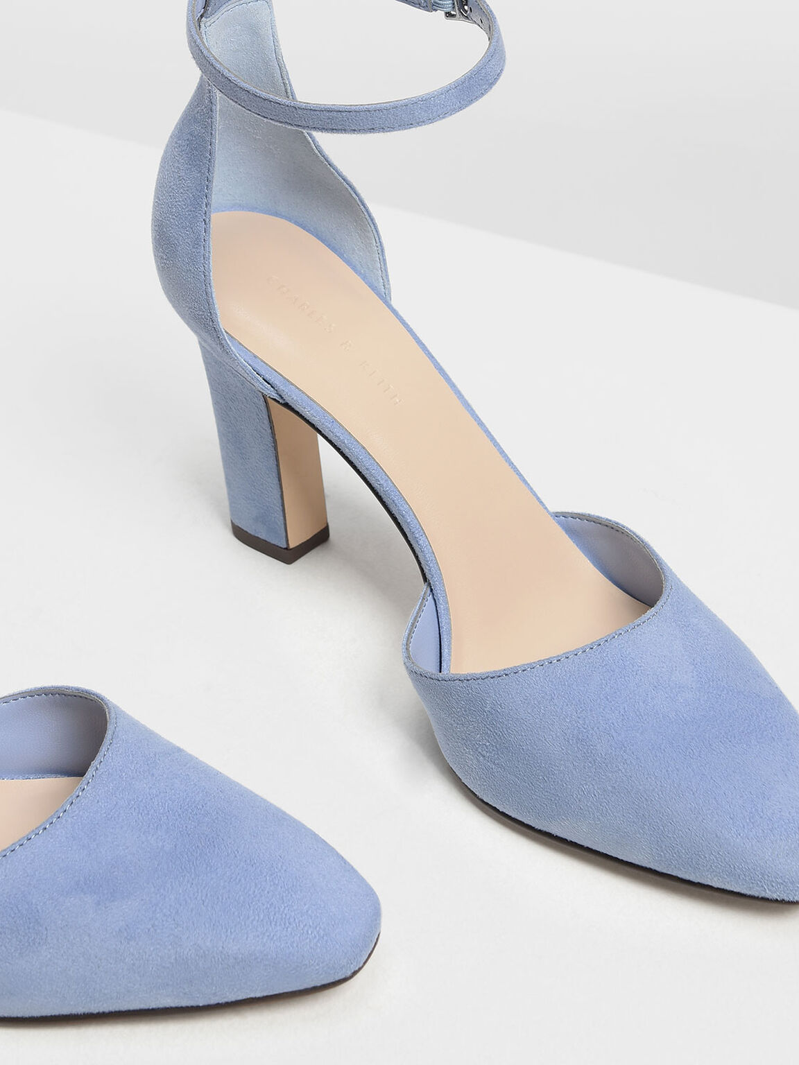 D'Orsay Ankle Strap Pumps, Light Blue, hi-res