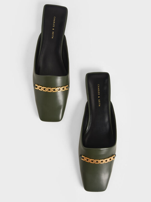 Chain Link Mules, Green, hi-res