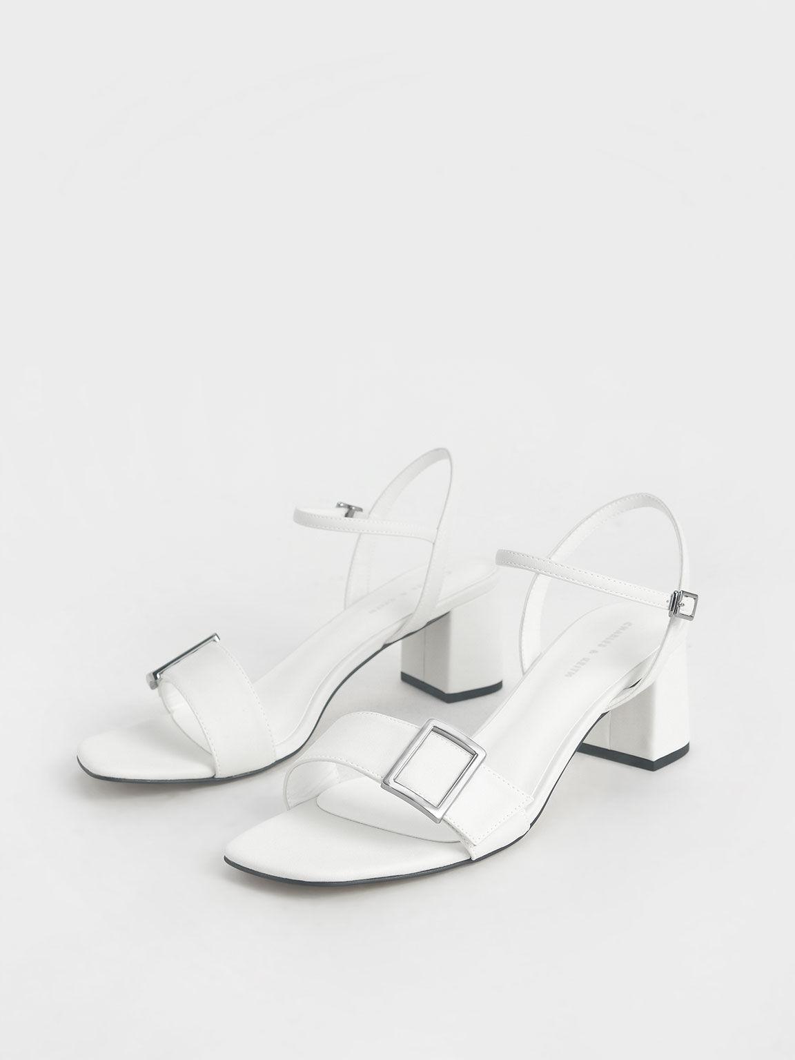 Buckle Strap Sandals, White, hi-res