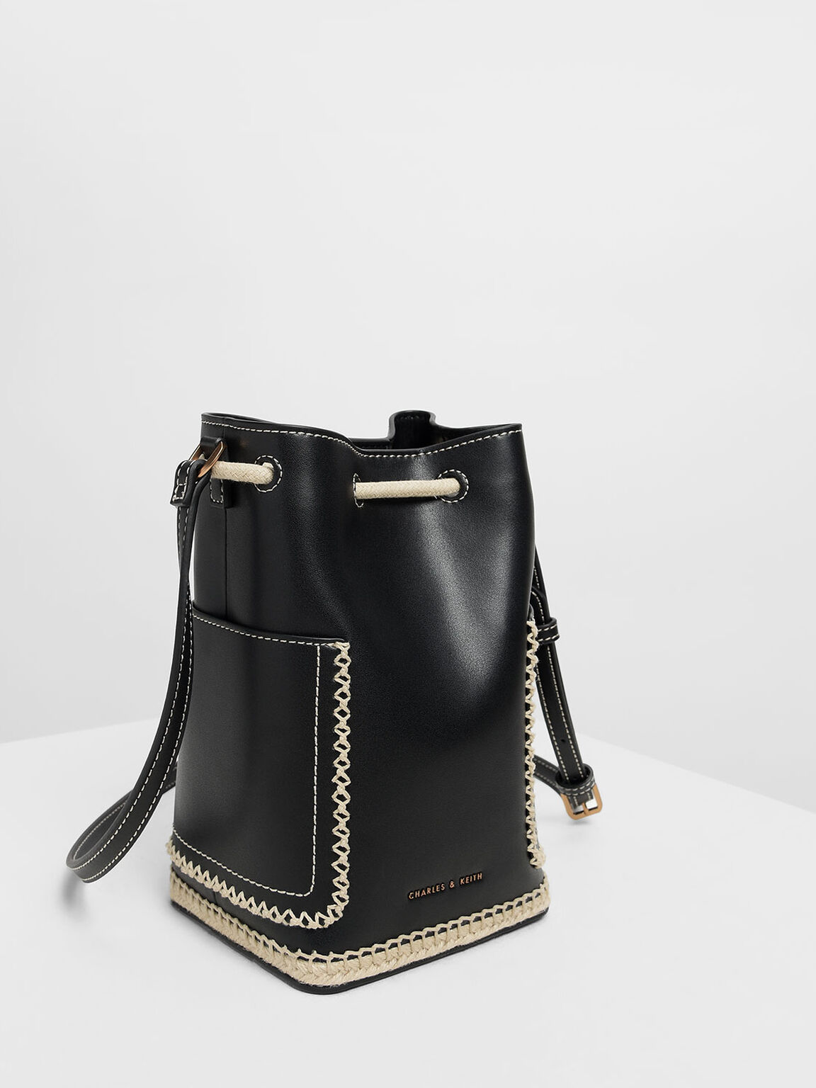 Whipstitch Trim Bucket Bag, Black, hi-res