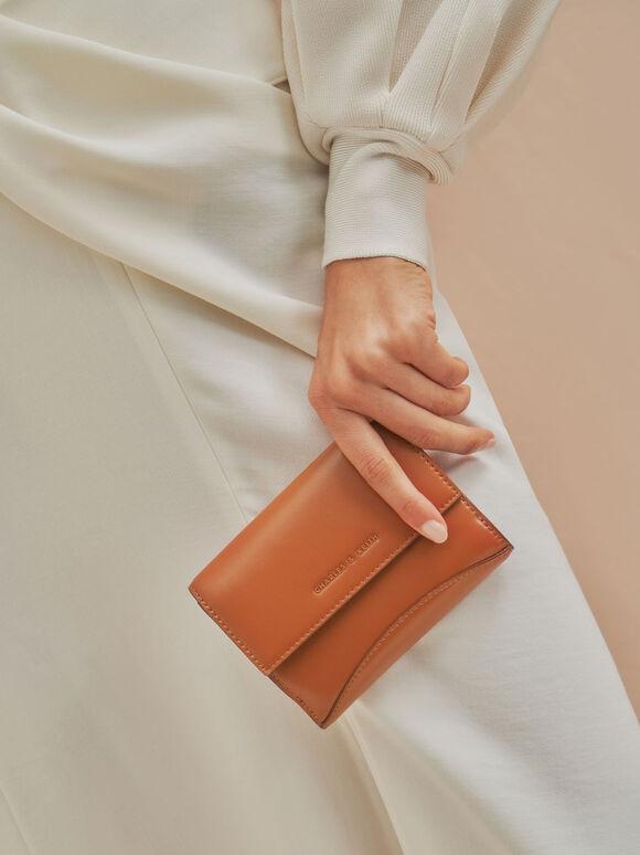 Snap Button Mini Short Wallet, Cognac, hi-res