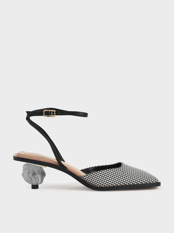 Jacquard & Leather Sculptural Heel Pumps, Multi, hi-res