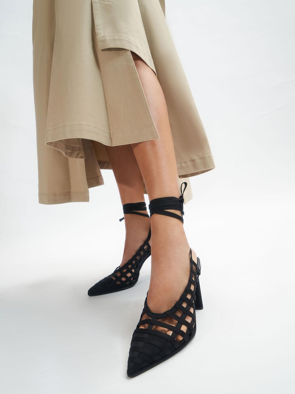 Grosgrain Tie-Around Caged Court Shoes, Black, hi-res