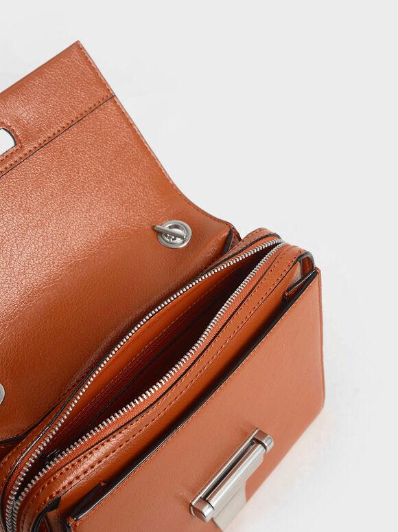 Metal Push-Lock Crossbody Bag, Orange, hi-res