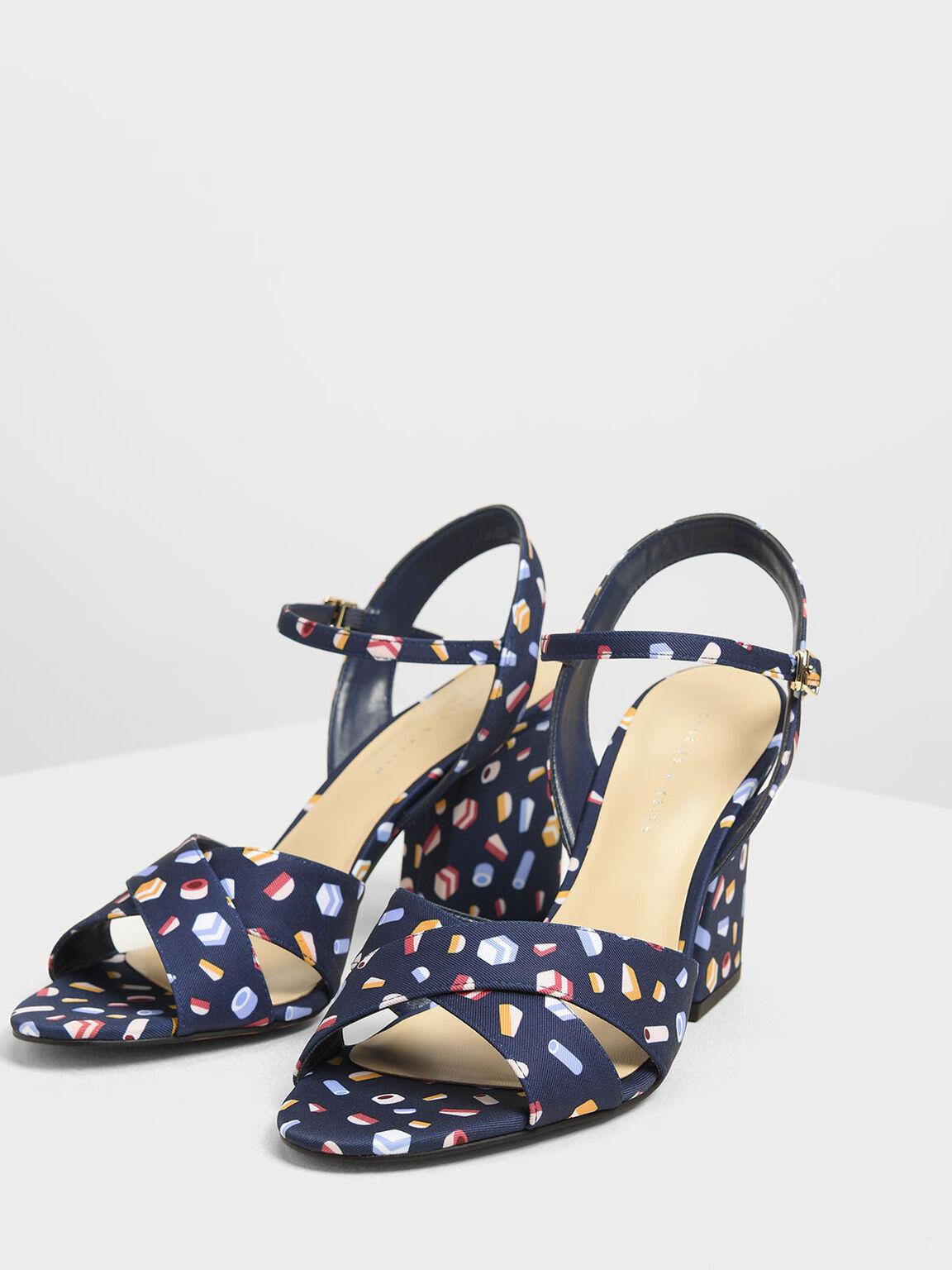 Criss Cross Printed Block Heel Sandals, Dark Blue, hi-res
